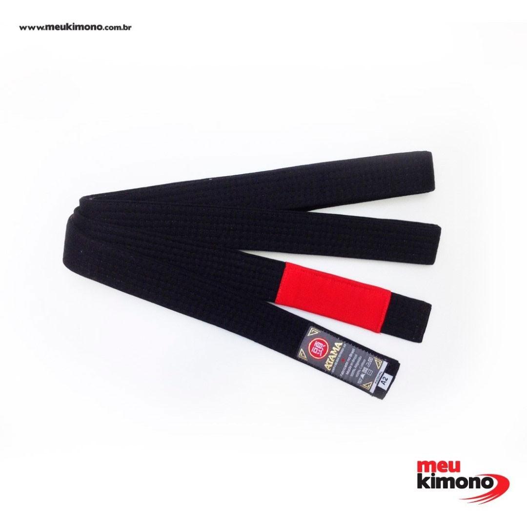 Faixa Jiu Jitsu Atama Tradicional Preta Ponta Vermelha Adulto