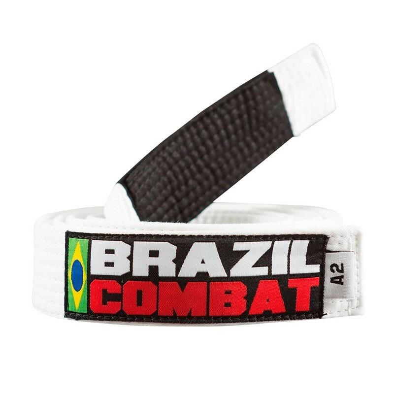Faixa Jiu Jitsu Brazil Combat Tradicional Branca Ponta Preta