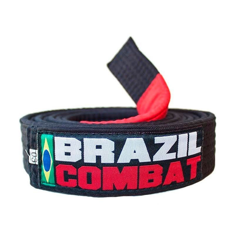 Faixa Jiu Jitsu Brazil Combat Tradicional Preta Ponta Vermelha