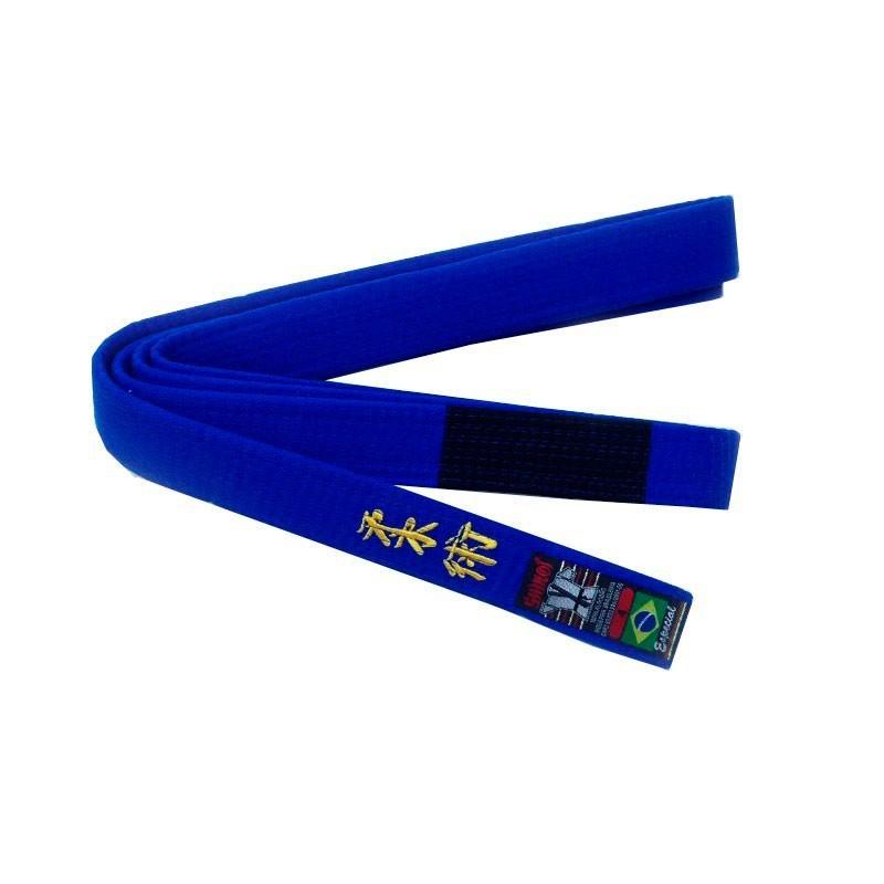 Faixa Jiu Jitsu Shiroi Bordada Azul Ponta Preta