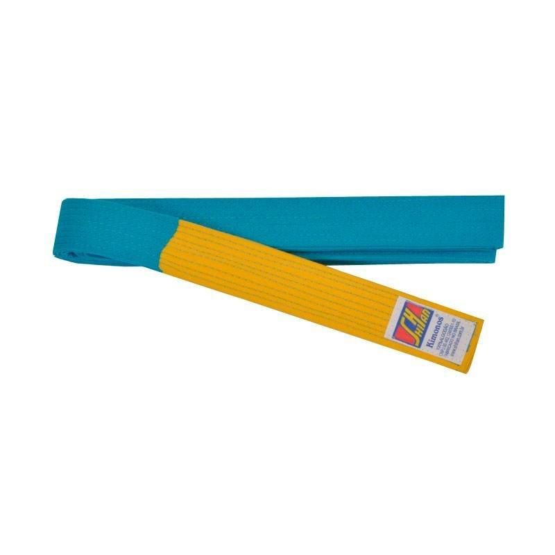Faixa Judo Shihan Azul Ponta Amarela