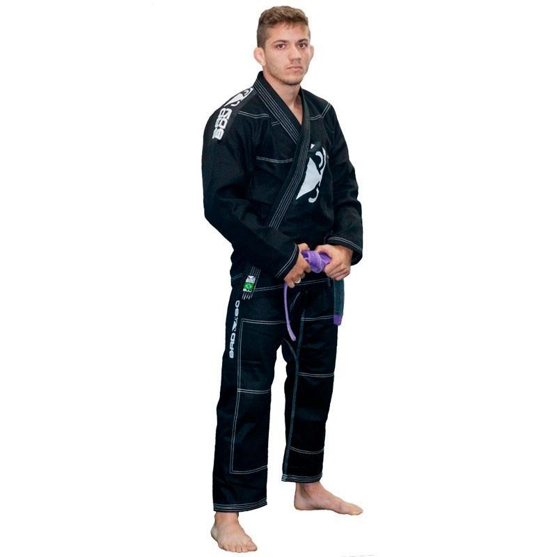 Kimono Jiu Jitsu Bad Boy Pro Series Preto Linha Branca Adulto