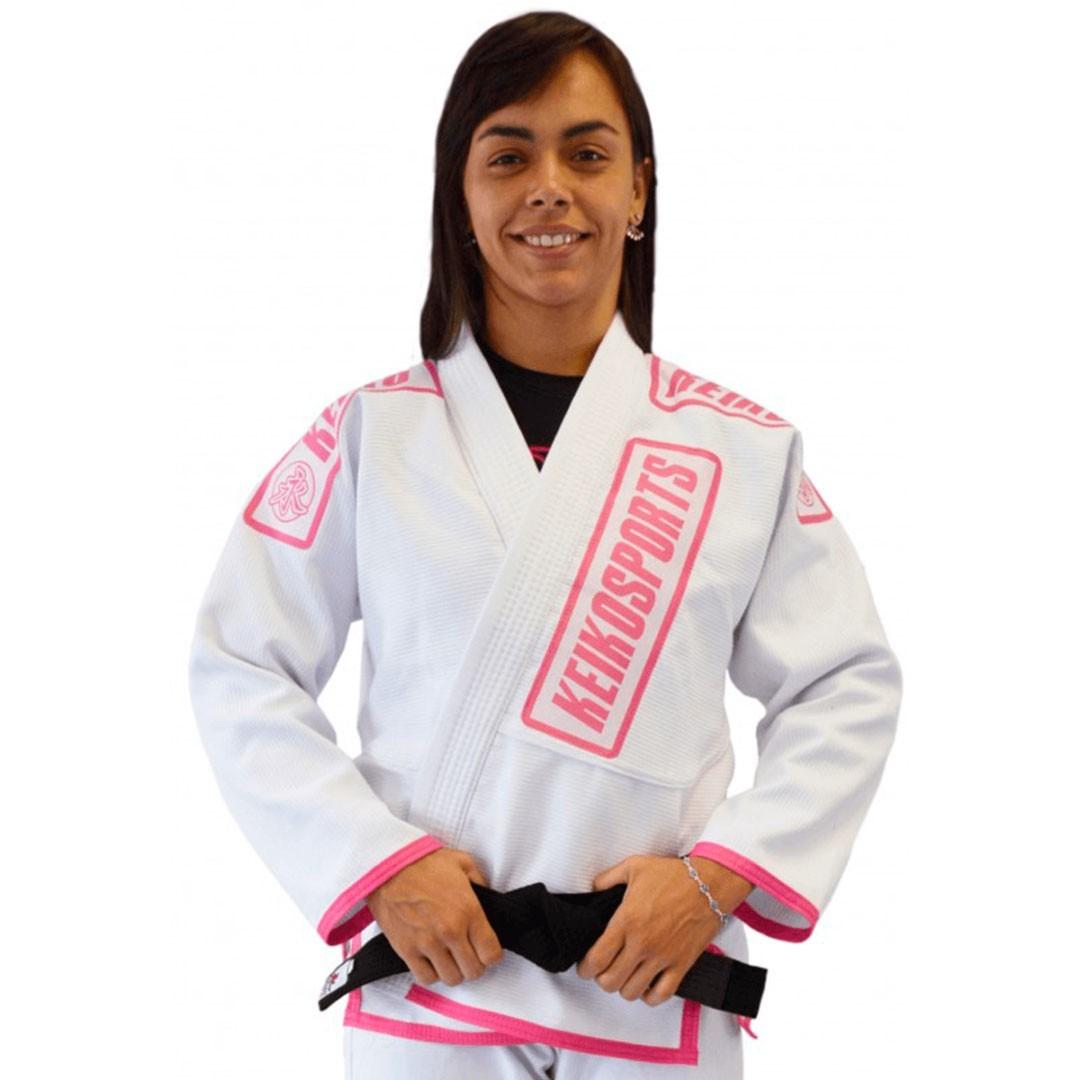 Kimono Jiu Jitsu Keiko Juvenil Pro Branco Rosa