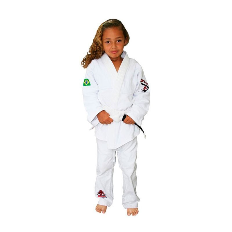 Kimono Jiu Jitsu Keiko Juvenil Trançadinho Branco Infantil
