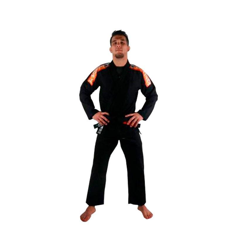 Kimono Jiu Jitsu Kvra Sensei Preto Silk Branco Adulto Unissex