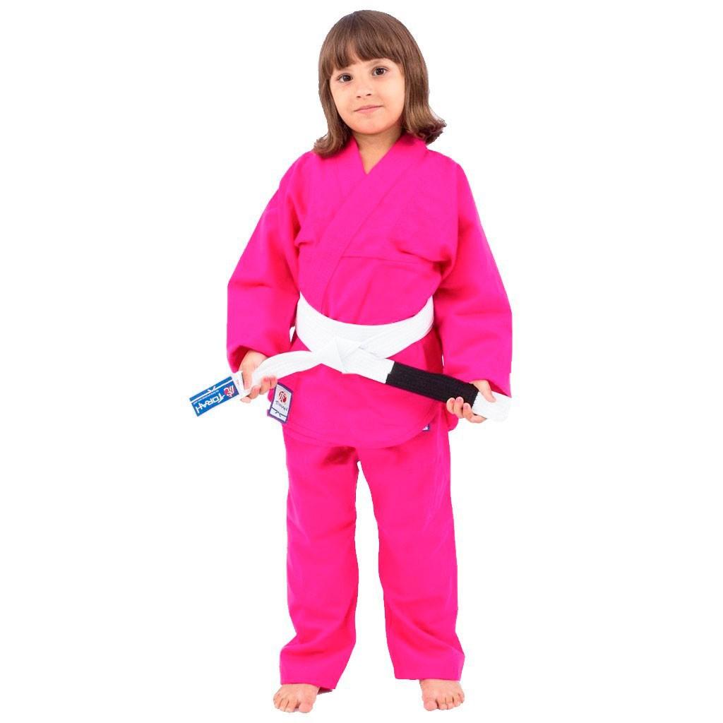 Kimono Jiu Jitsu Torah Kids Combate Pink Infantil Com Faixa