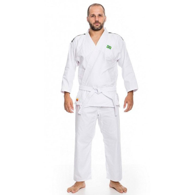 Kimono Judô Dragão Brim Branco Adulto Unissex