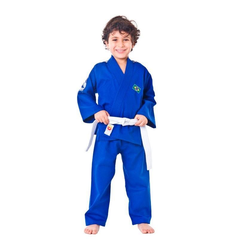 Kimono Judo Dragão Kids Azul Com Faixa Branca Infantil