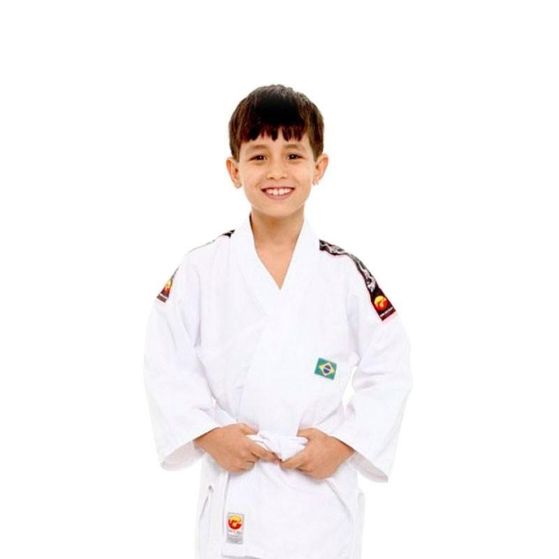 Kimono Judo Dragão Kids Branco Com Faixa Branca Infantil