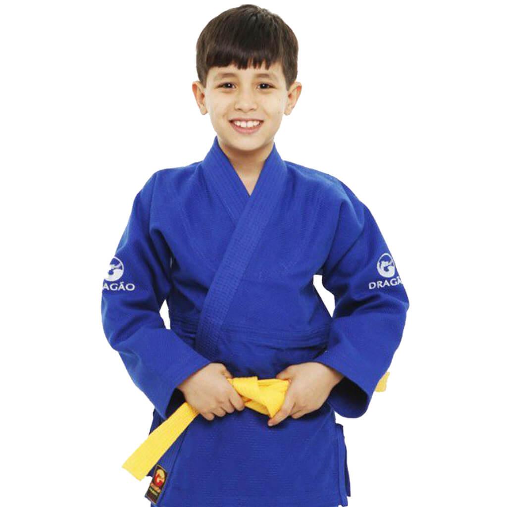 Kimono Judo Dragão Serie Ouro Azul Infantil