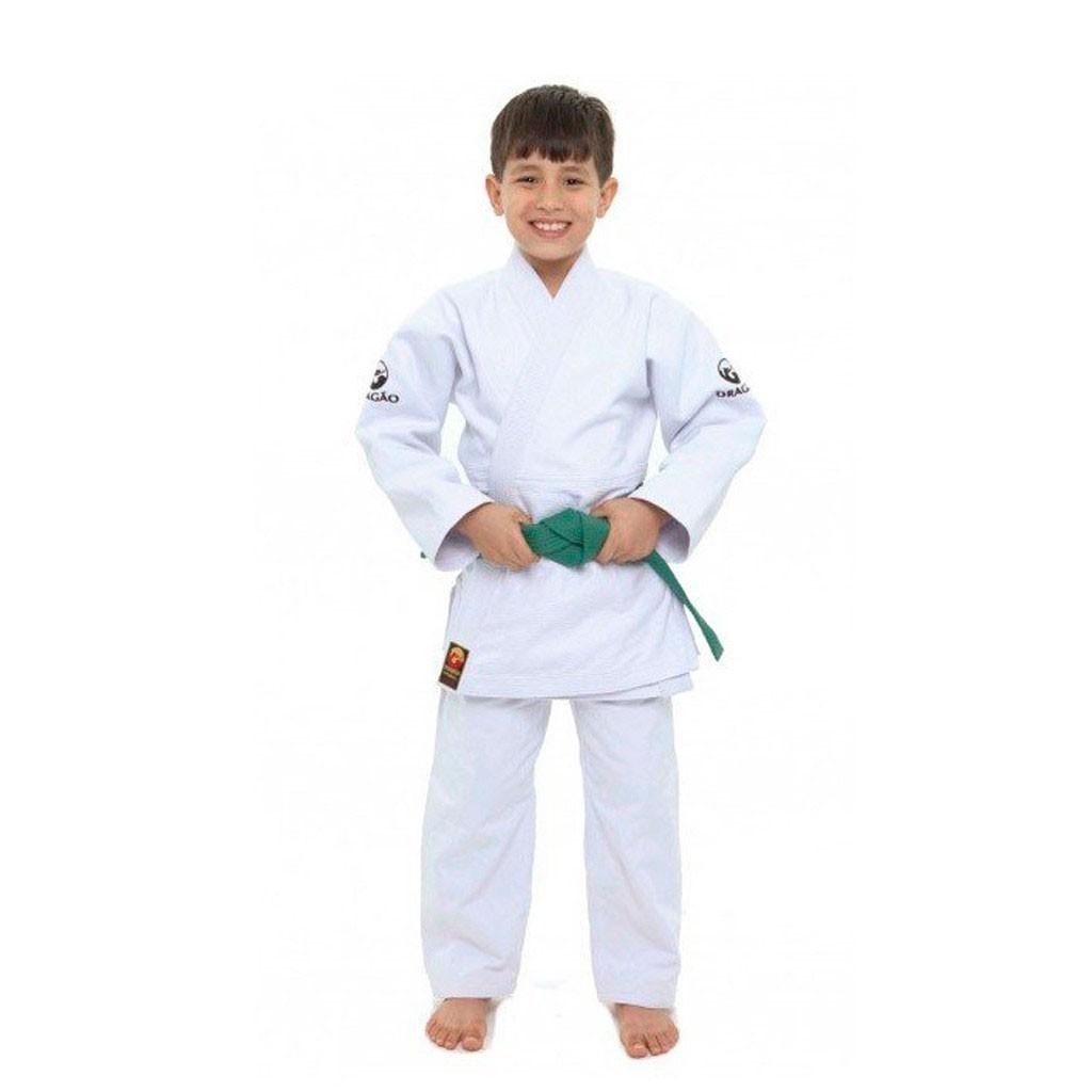 Kimono Judo Dragão Serie Ouro Branco Infantil