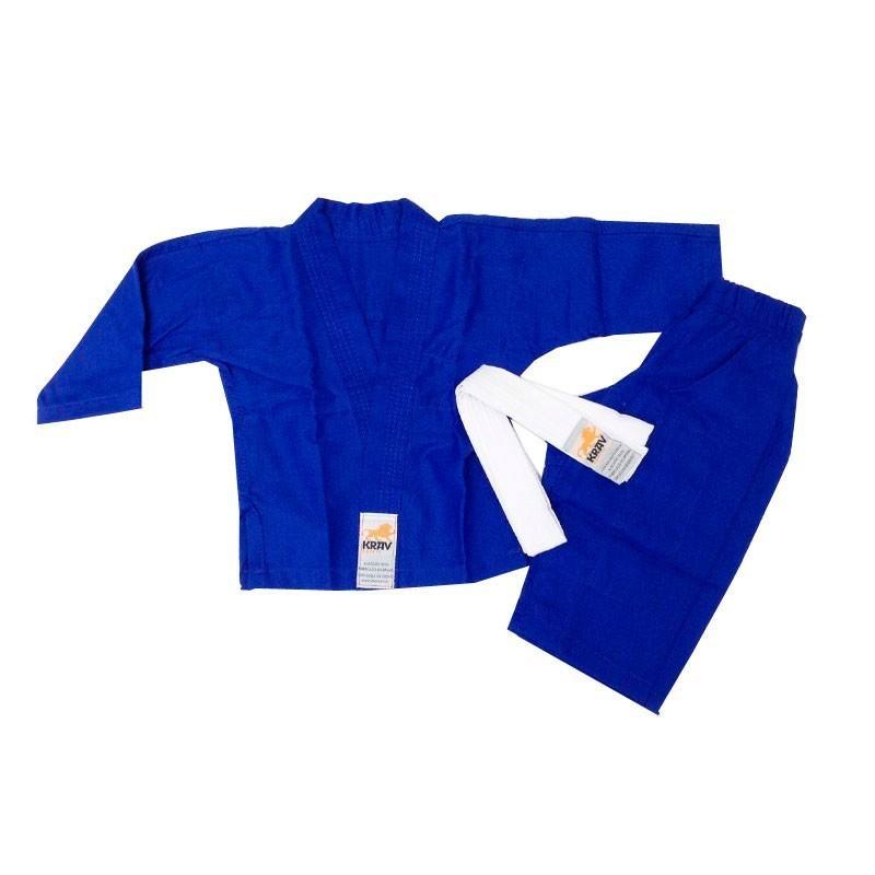 Kimono Judo Krav Kids Azul 1 Ano Faixa Branca