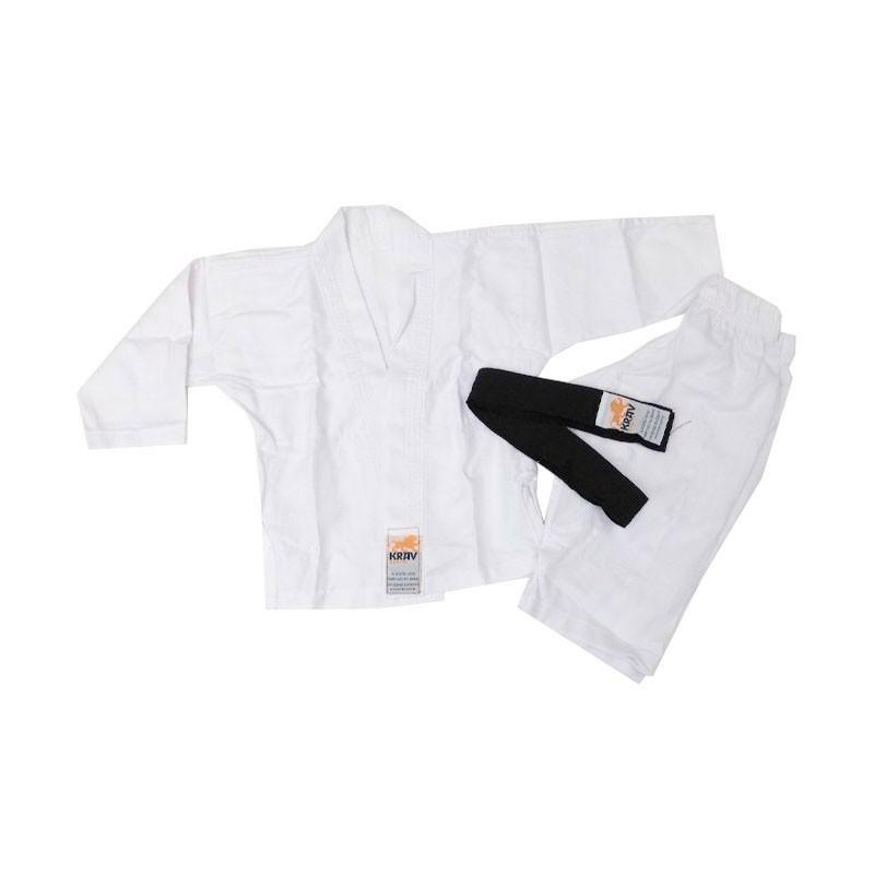 Kimono Judo Krav Kids Branco 1 Ano Faixa Preta