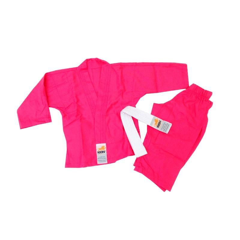 Kimono Judo Krav Kids Rosa 1 Ano Faixa Branca