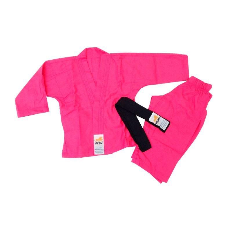 Kimono Judo Krav Kids Rosa 1 Ano Faixa Preta