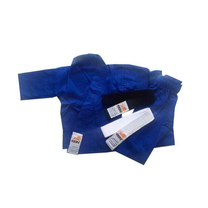 Kimono Judo Krav Recém Nascido Azul Faixa Branca e Preta