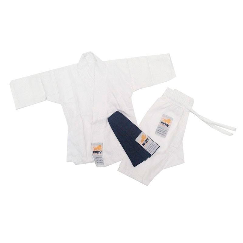 Kimono Judo Krav Recém Nascido Branco Faixa Preta