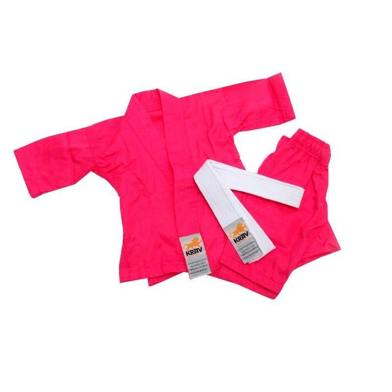 Kimono Judo Krav Recém Nascido Rosa Faixa Branca