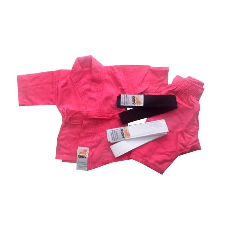 Kimono Judo Krav Recém Nascido Rosa Faixa Branca e Preta