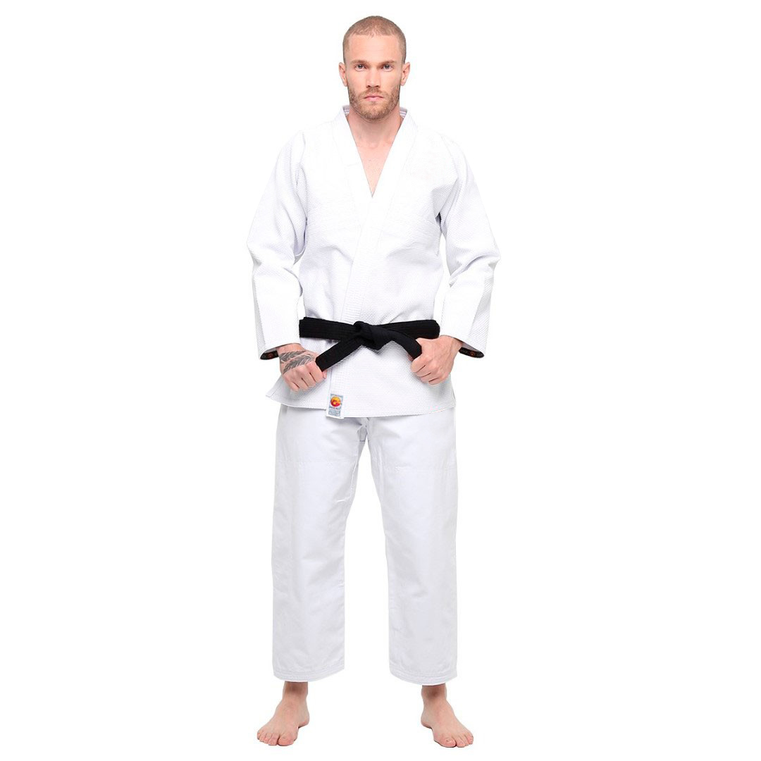 Kimono Trançado Branco Liso para Krav Magá ou Jiu Jitsu