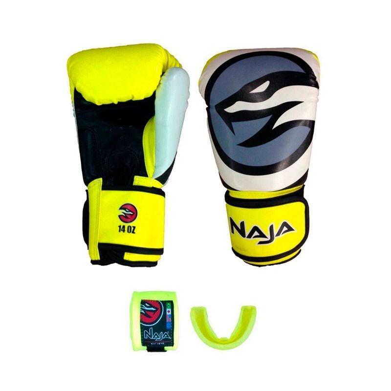 Luva Boxe Muay Thai Naja Colors+Bandagem+Protetor Bucal - Kit  Amarelo