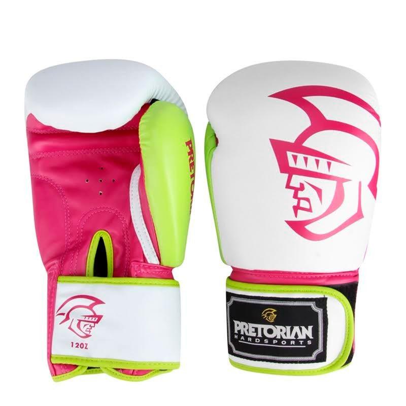 Luva Pretorian Training Boxe/Muay Thai Branca Rosa