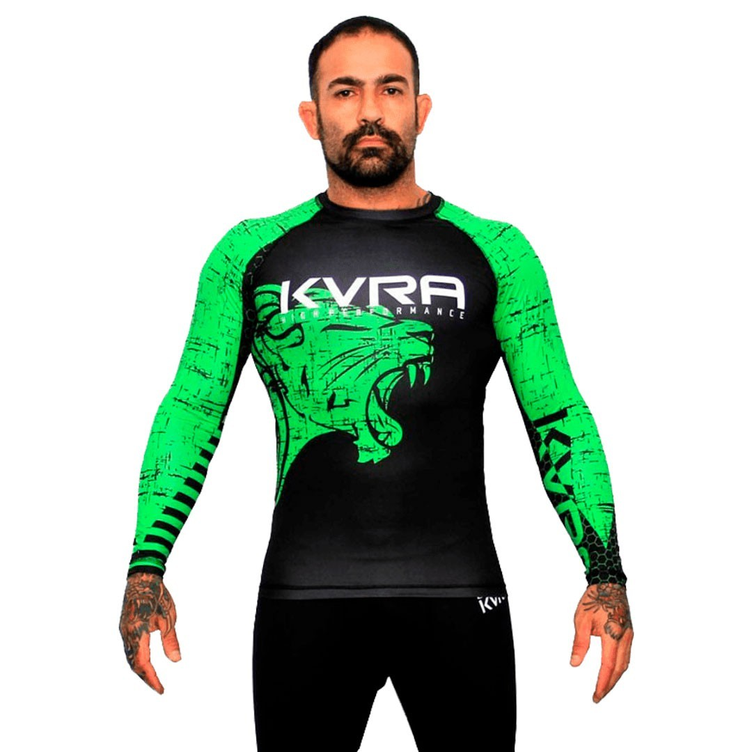 Rash Guard Kvra Lion Preto Verde Unissex
