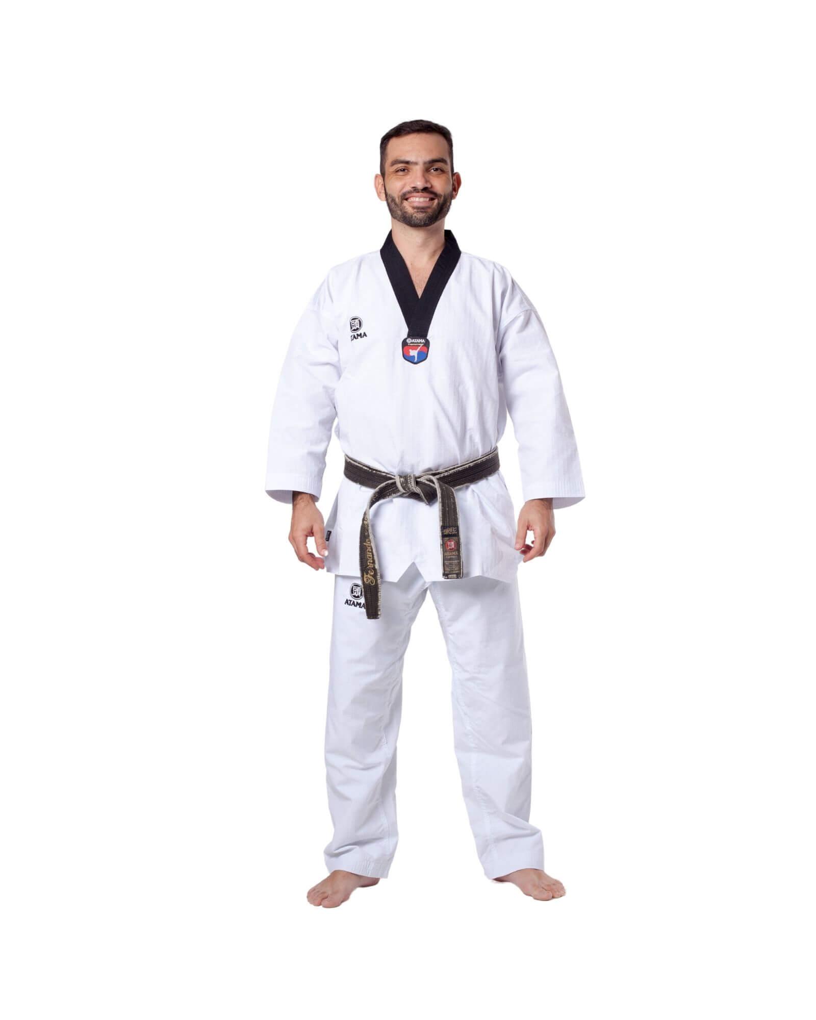 Taekwondo Dobok Advanced Branco/Preto Atama Adulto - Unissex