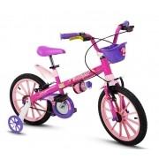 Bicicleta Feminina Nathor Aro 16 Top Girls Rosa Com Cesta