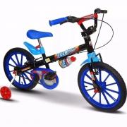 Bicicleta Infantil Aro 16 Tech Boys Azul e Preta com Rodinha
