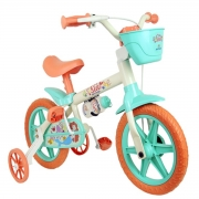 Bicicleta Infantil Nathor Sea Aro 12 Com Cesta Branco e Vde