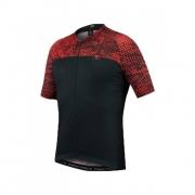 Camisa Ciclismo Masculino Free Force Halftone Preto Vermelho