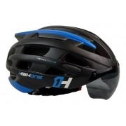 Capacete Bike Casco Com Óculos High One Preto e Azul