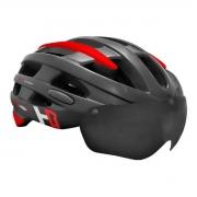 Capacete Bike Casco Com Óculos High One Preto e Vermelho