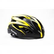 Capacete Para Ciclismo Rontek Com Led Preto e Amarelo RT-58