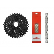 Kit Cassete SunRace M55 11-32D e Corrente SunRace 8v 116L