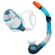 Kit Speedo Belize Snorkel e Máscara Azul Lente Transparente