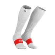 Meia de Compressão Compressport Full Socks V3.0 Run Branco