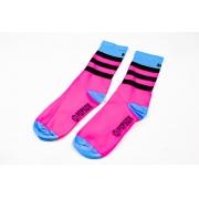 Meia Popsox Performance Light Stripes Pink Neon e azul