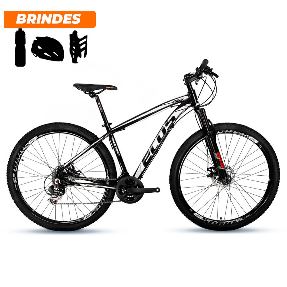 Bicicleta Aro 29 Ecos Onix 21v Câmbio Shimano Preto e Branco