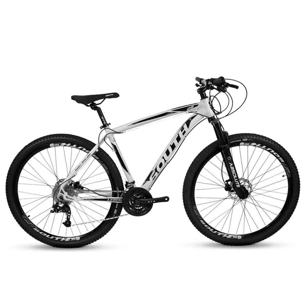 Bicicleta Aro 29 Mtb Alumínio South 27v Freio Hidr Bco e Pto