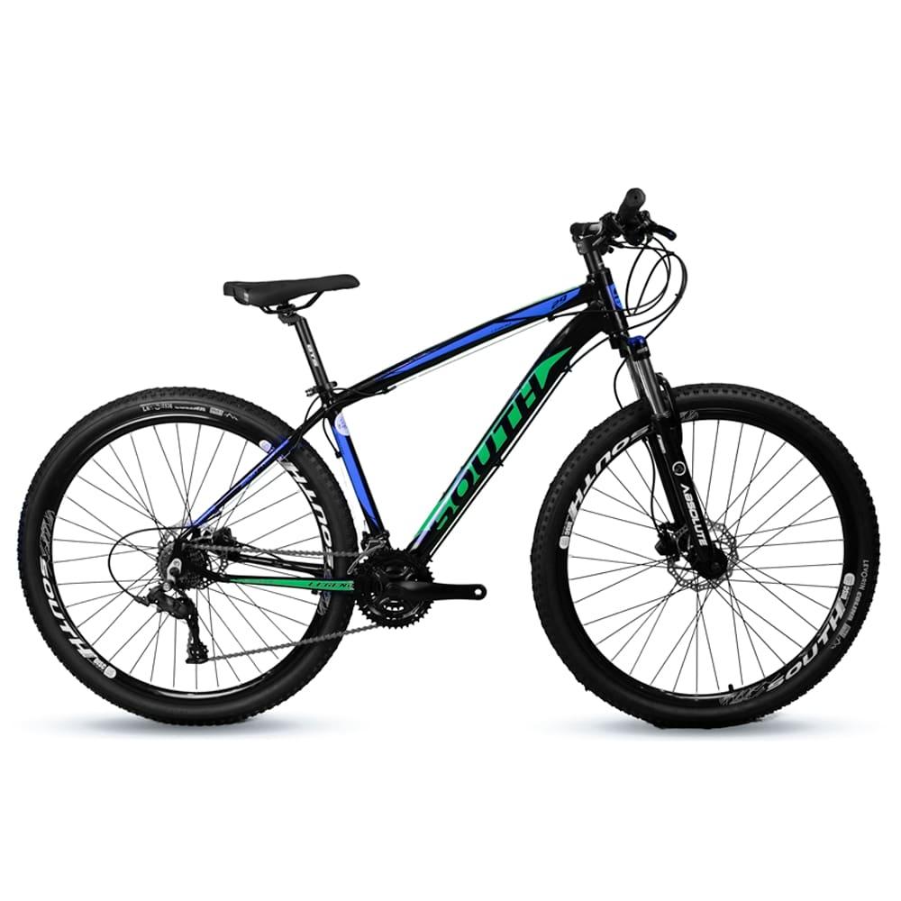 Bicicleta Aro 29 Mtb Alumínio South Legend 21v Azul e Verde