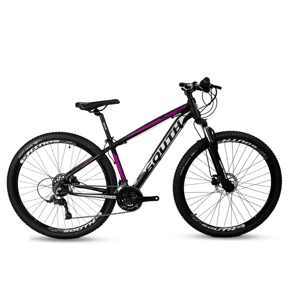 Bicicleta Aro 29 Mtb Alumínio South Legend 21v Preto e Rosa