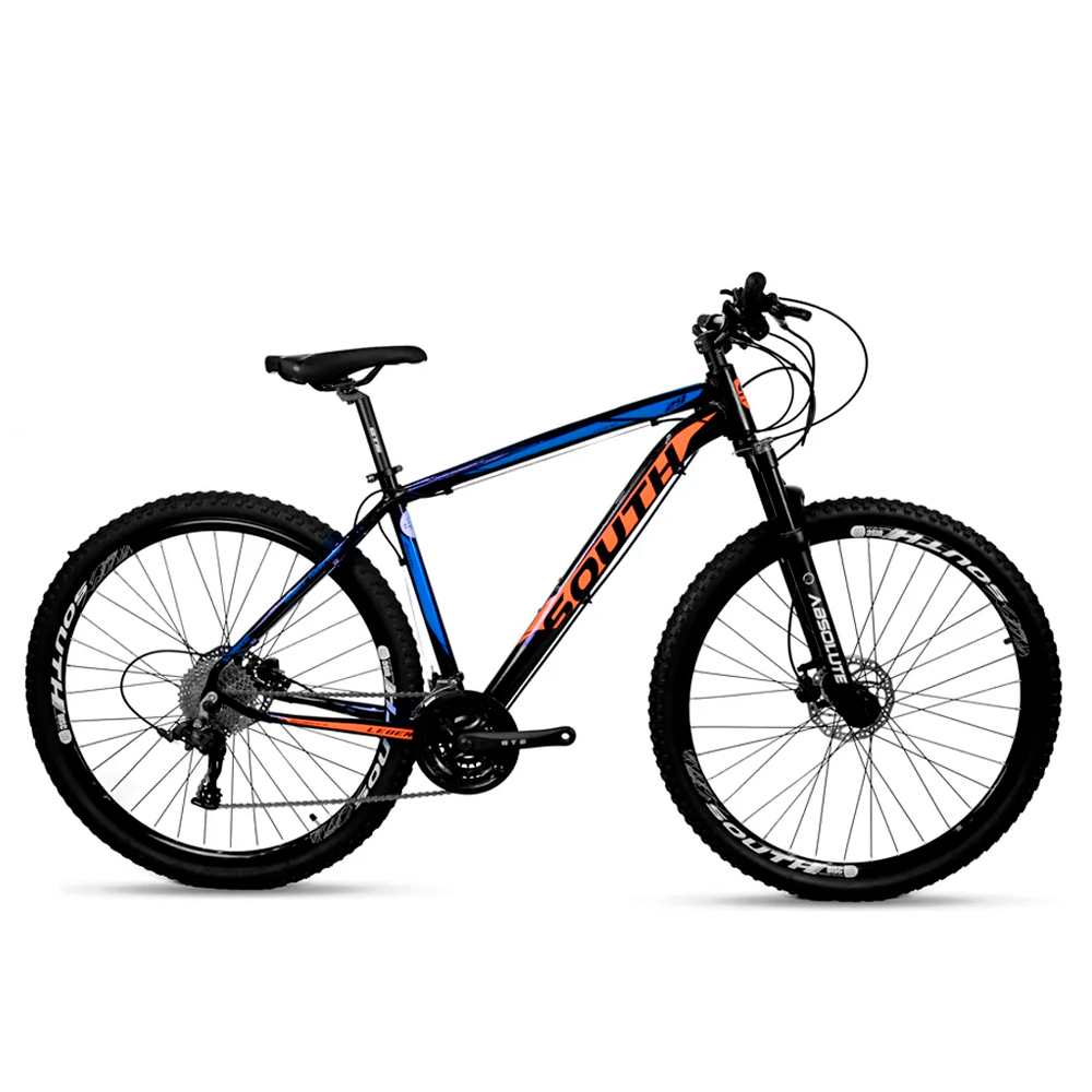 Bicicleta Aro 29 Mtb Alumínio South Legend 24v Azul e Laranj