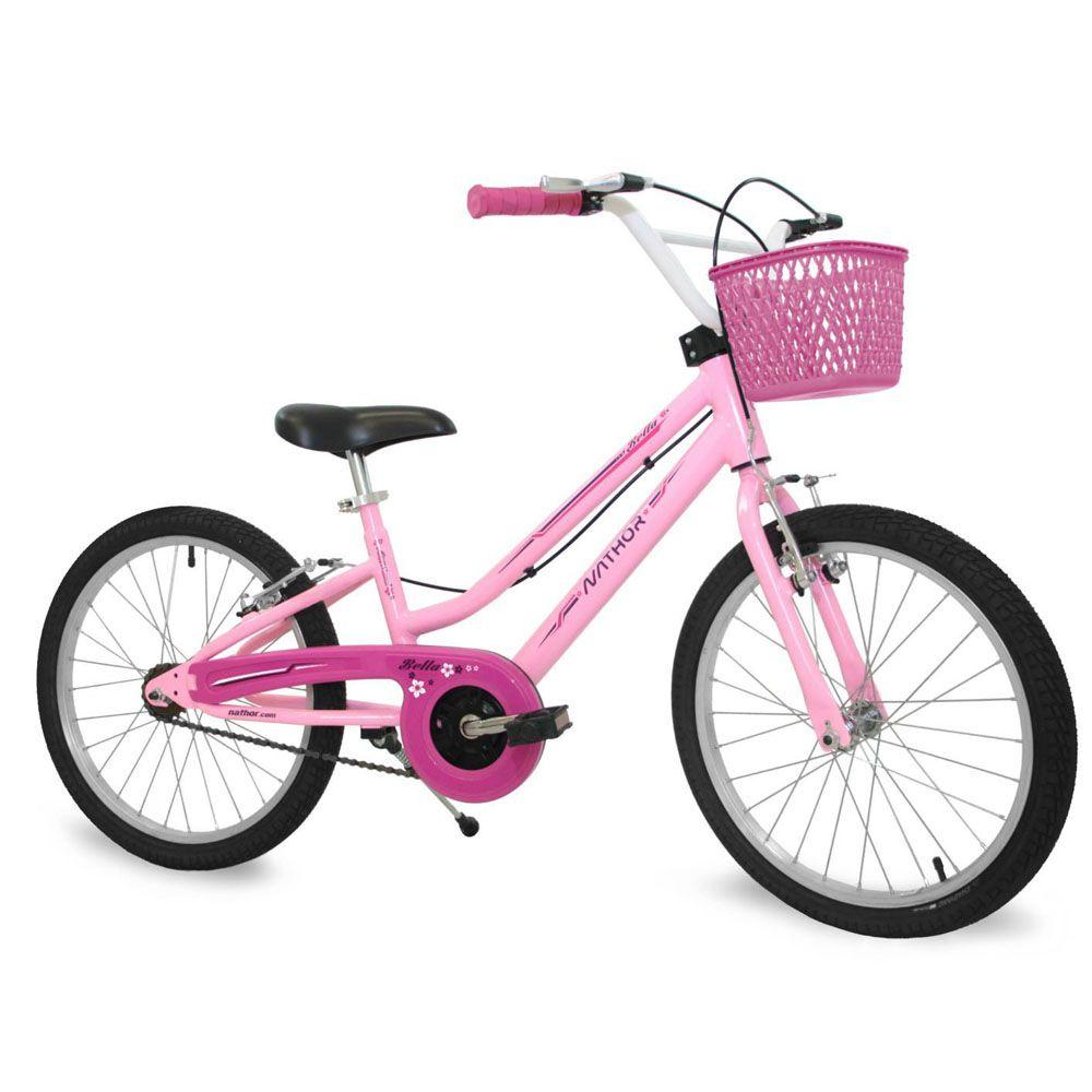 Bicicleta Infantil Aro 20 Bella Rosa com Cestinha