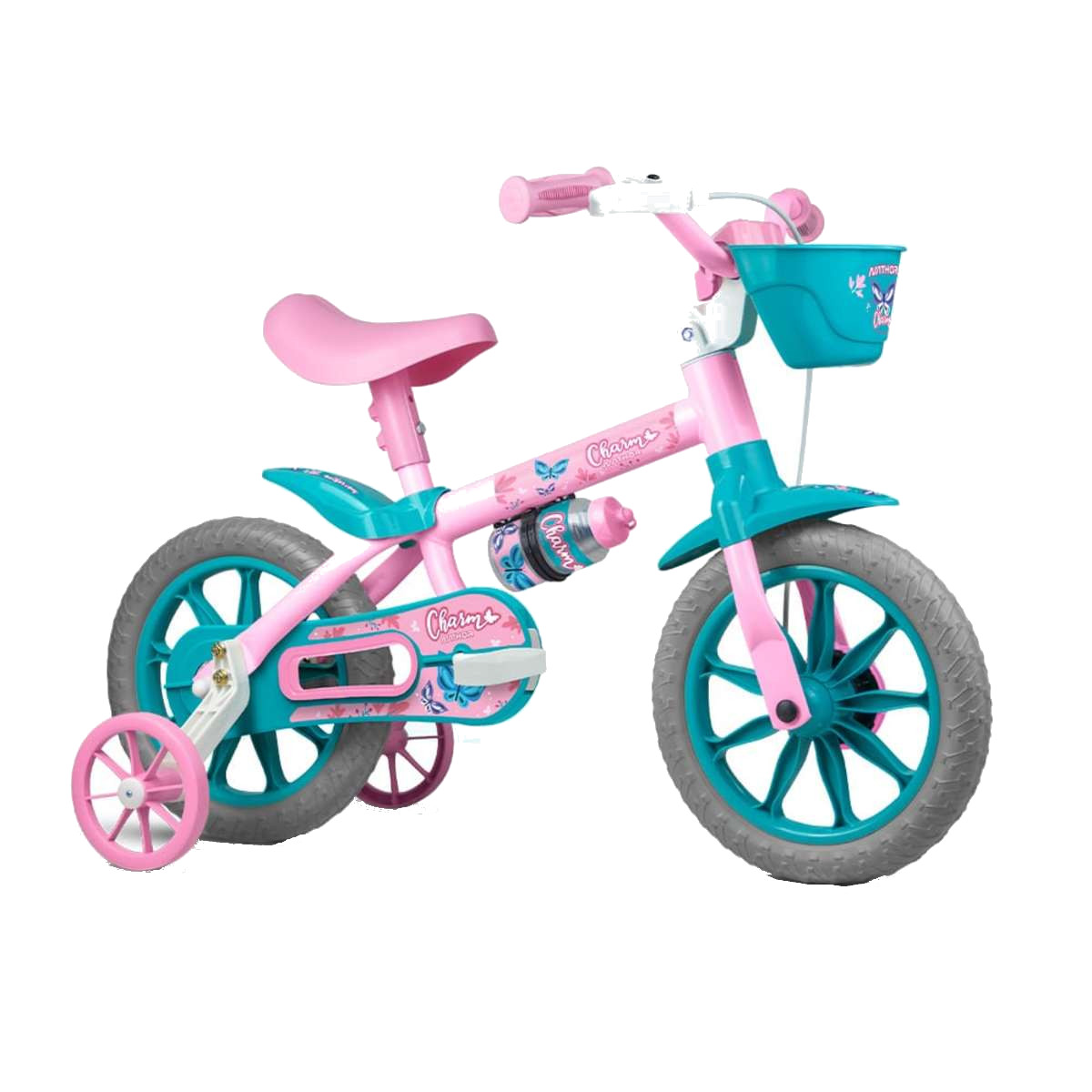 Bicicleta Infantil  Com Rodinha Aro 12 Nathor Charm Rosa