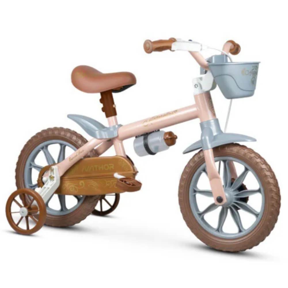 Bicicleta Infantil Nathor Antonella Rosa Aro 12 Com Cesta