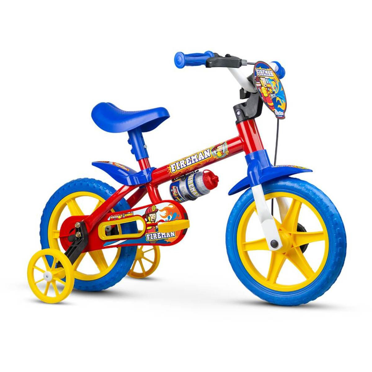 Bicicleta Infantil Nathor Aro12 Bombeiro Vermelha e Azul