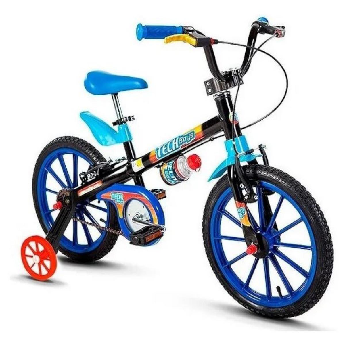 Bicicleta Infantil Nathor Aro16 Azul Tech Boys 5 A 8 Anos