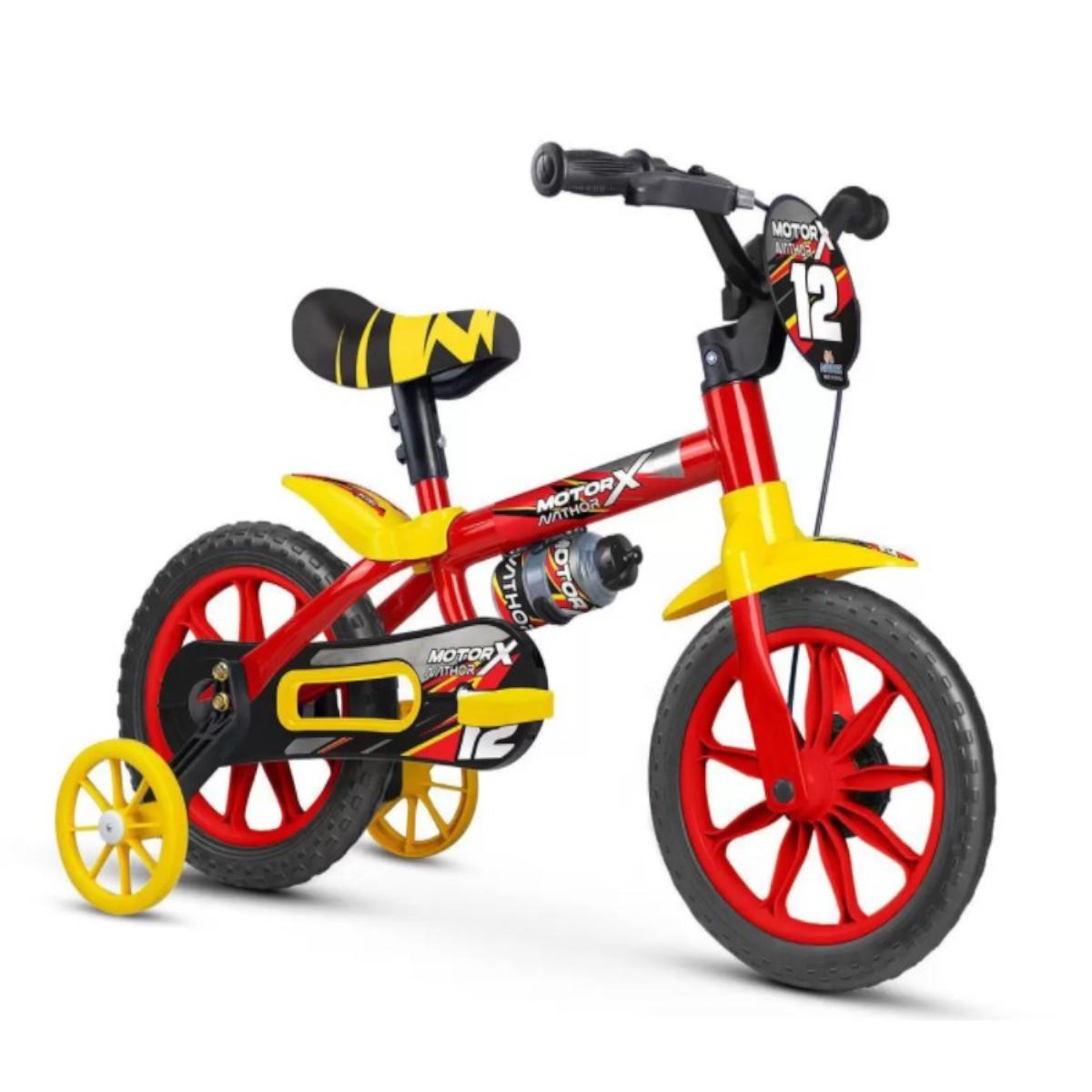 Bicicleta Infantil Nathor Aro 12 Motor X Rodinha Ver e Amare